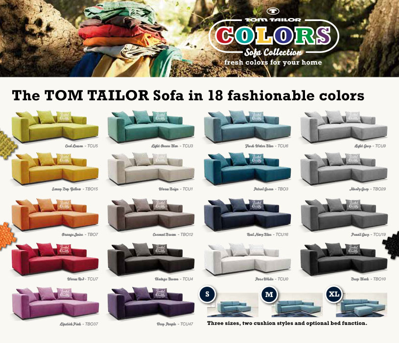 tom tailor colors new colorful sofa range fashionable. Black Bedroom Furniture Sets. Home Design Ideas